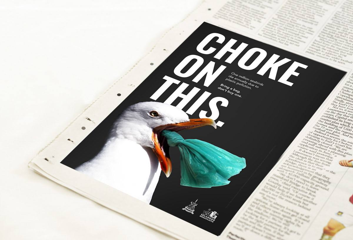 One million seabirds die annually due to plastic pollution. Carry a non-plastic bag. Don't buy or ask for plastic bags.